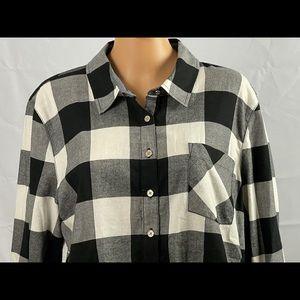 Buffalo Plaid Cotton Roll-Tab-Sleeve Top